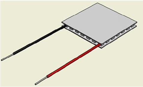peltier-element: Darstellung warme Seite